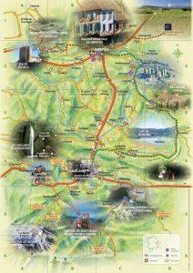 Carte touristique des Pyrenees Cathares